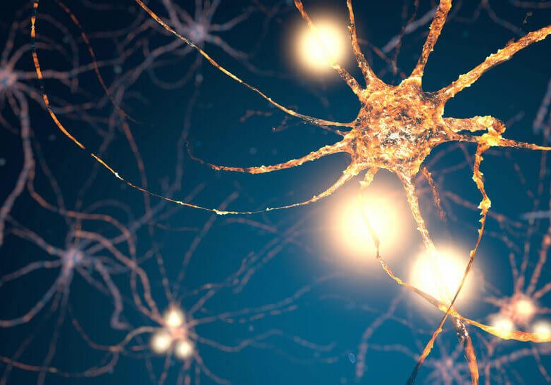Glowing synapse in human neural system network. Full CGI showing active neuron cells.